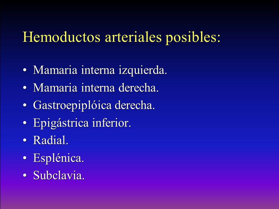 Hemoductos arteriales posibles: