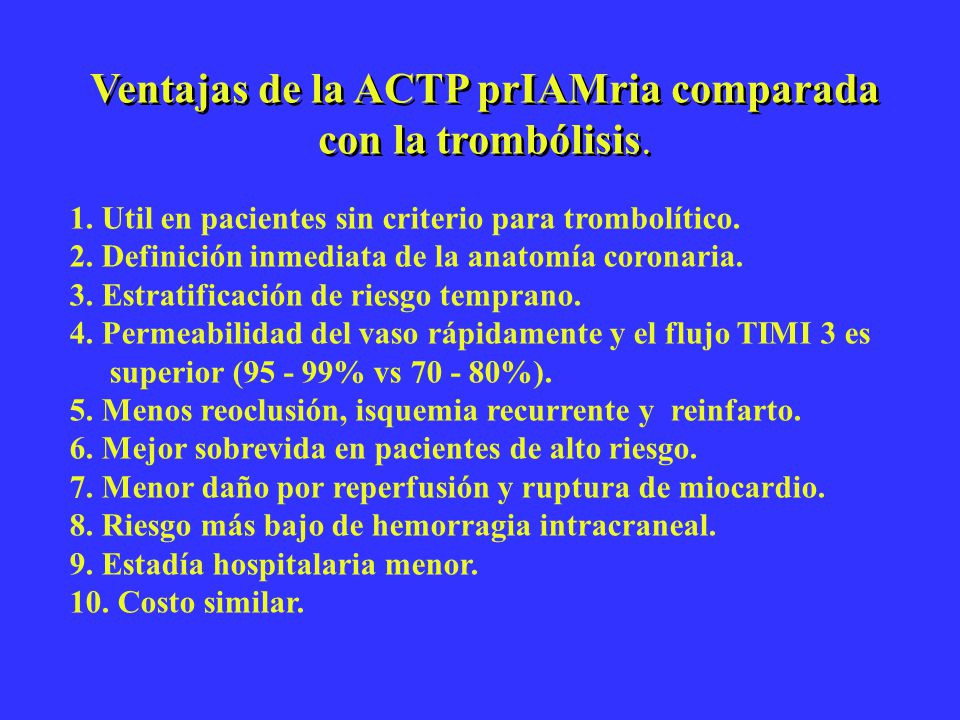 Ventajas de la ACTP prIAMria comparada