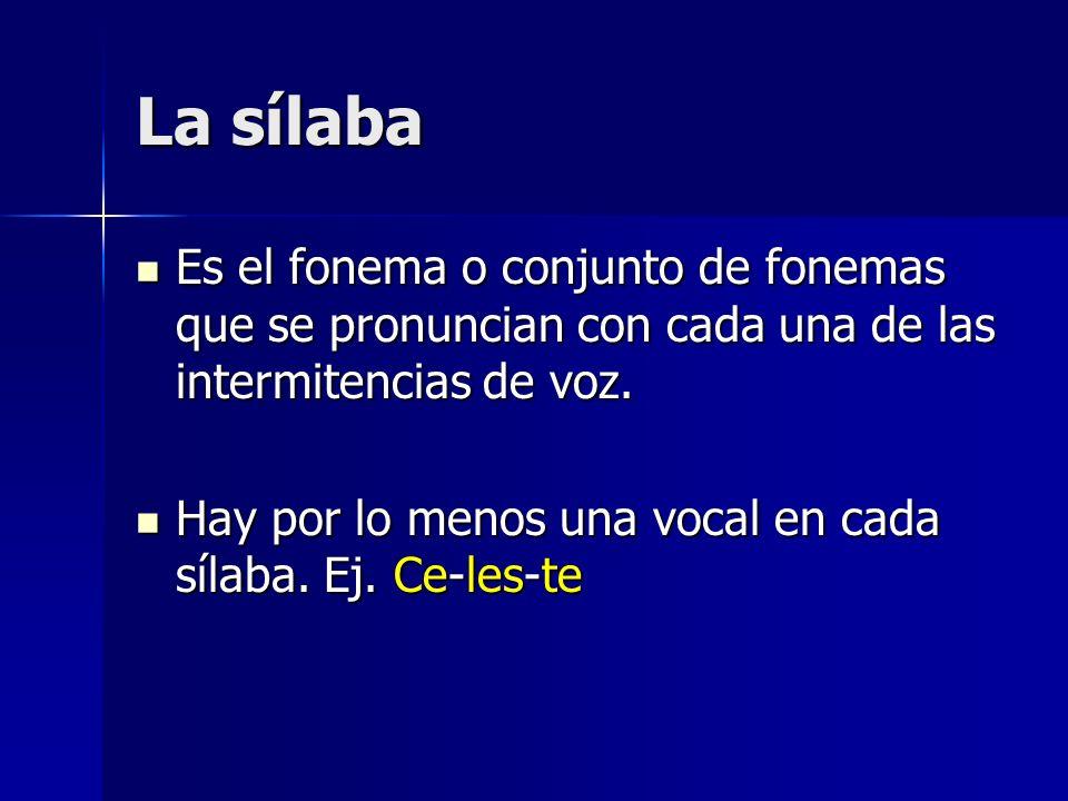 La sílaba Es el fonema o conjunto de fonemas que se pronuncian con cada una de las intermitencias de voz.