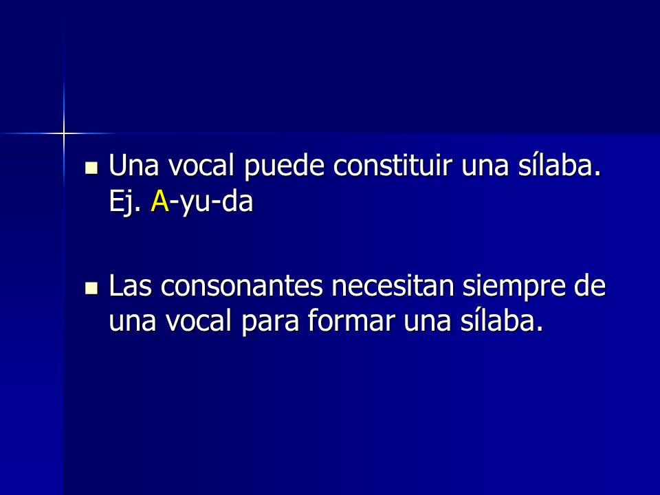 Una vocal puede constituir una sílaba. Ej. A-yu-da