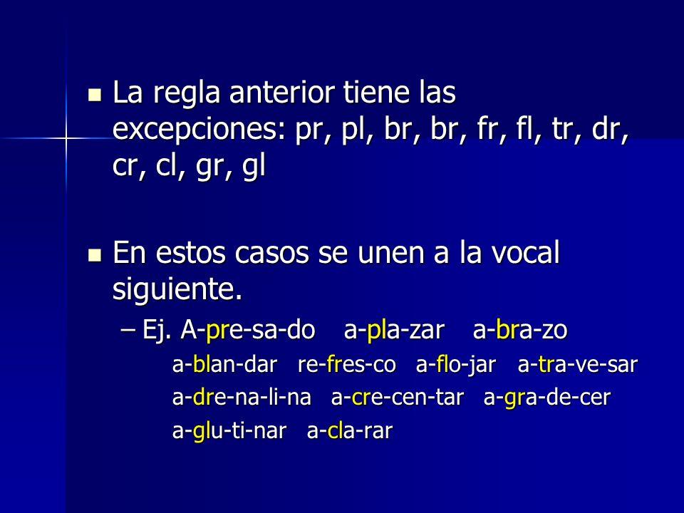 En estos casos se unen a la vocal siguiente.