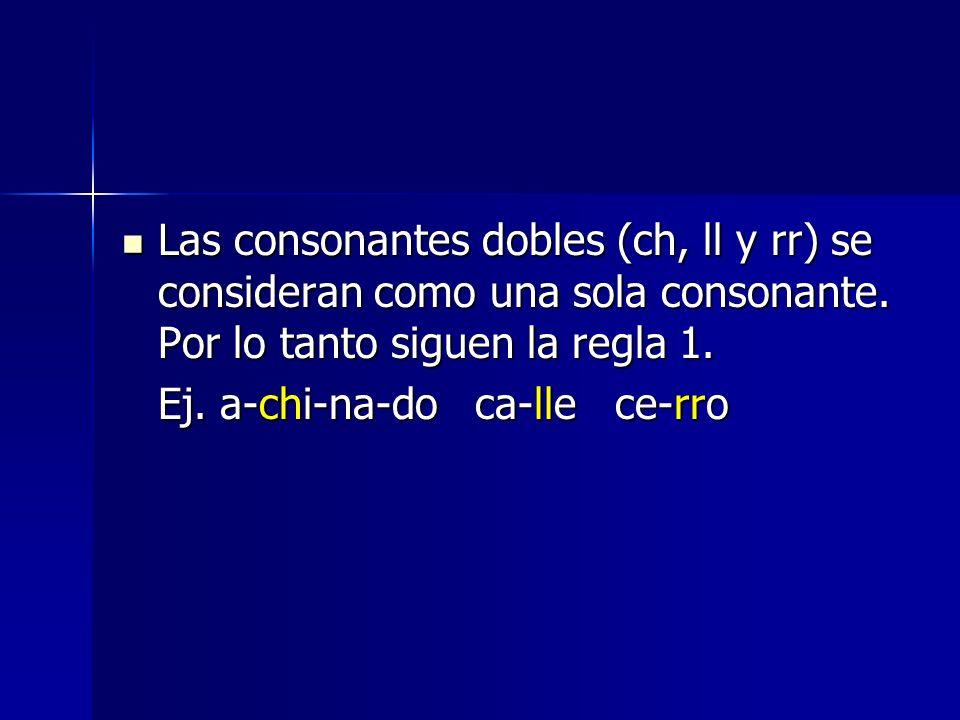 Las consonantes dobles (ch, ll y rr) se consideran como una sola consonante. Por lo tanto siguen la regla 1.