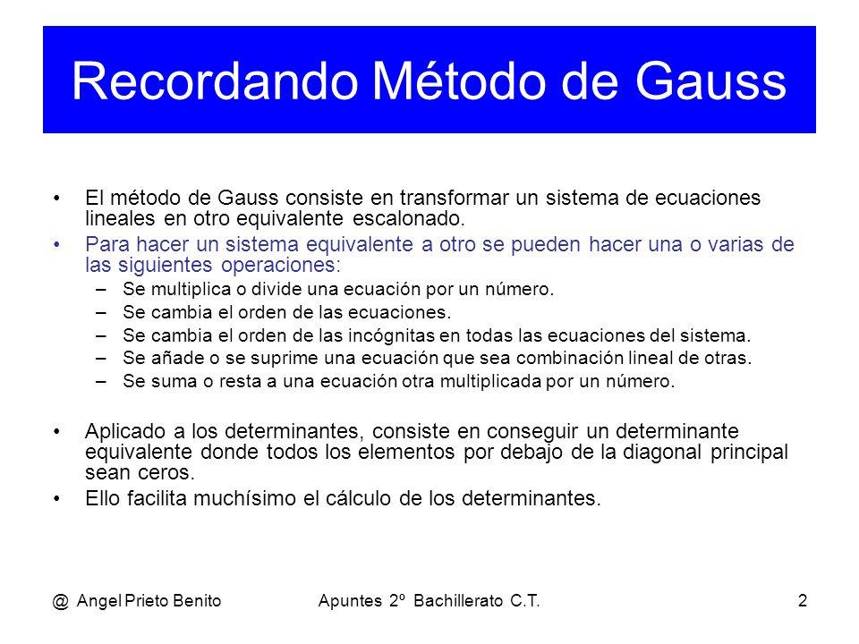 Recordando Método de Gauss