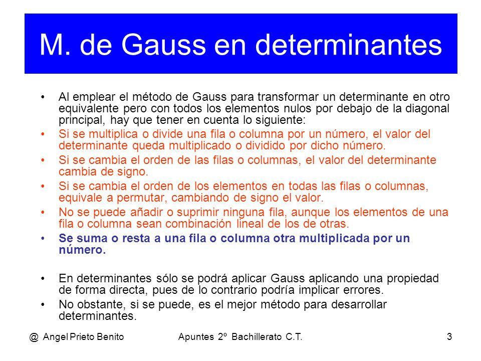 M. de Gauss en determinantes