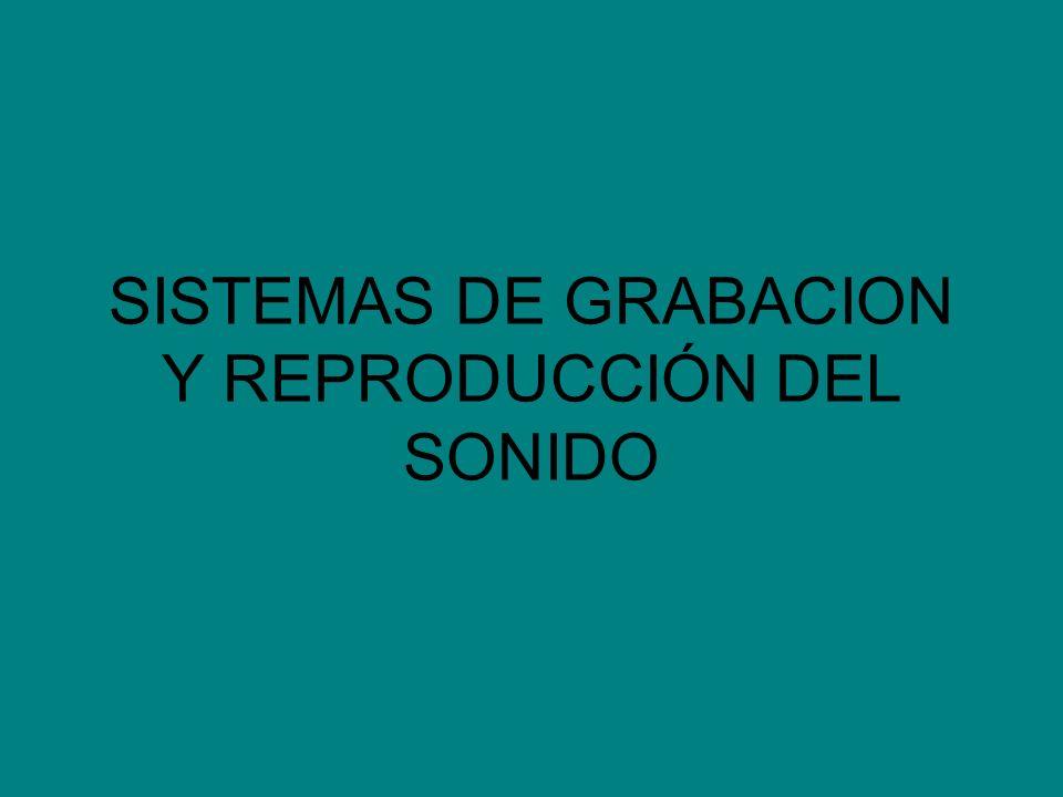SISTEMAS DE GRABACION Y REPRODUCCIÓN DEL SONIDO