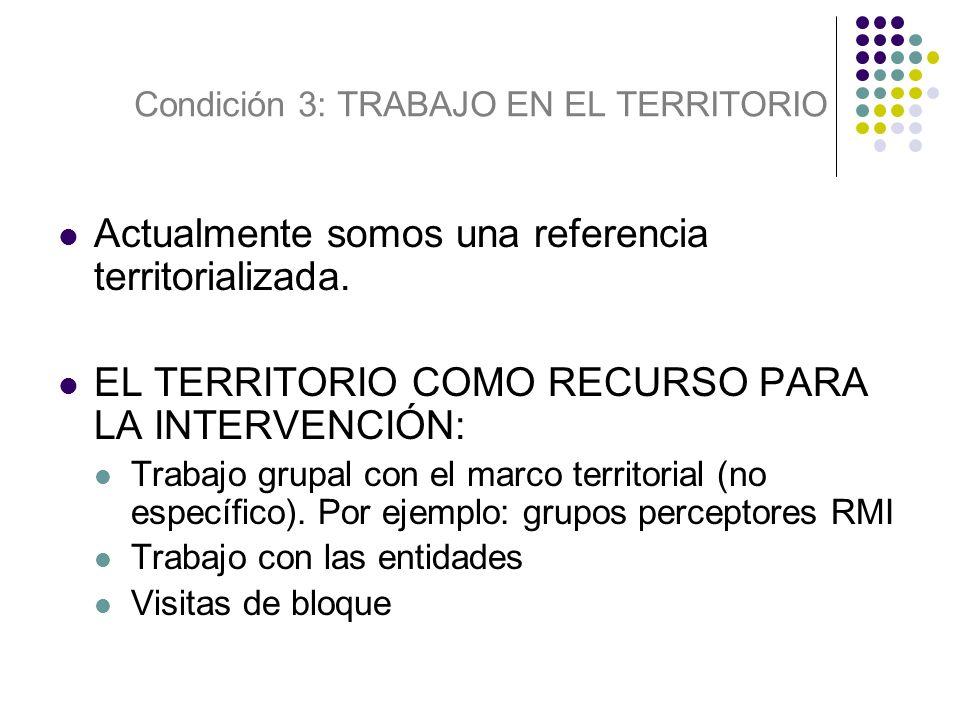Condición 3: TRABAJO EN EL TERRITORIO