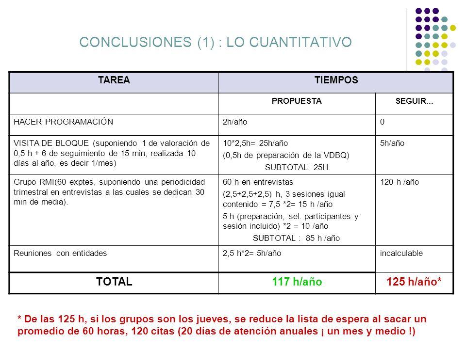 CONCLUSIONES (1) : LO CUANTITATIVO