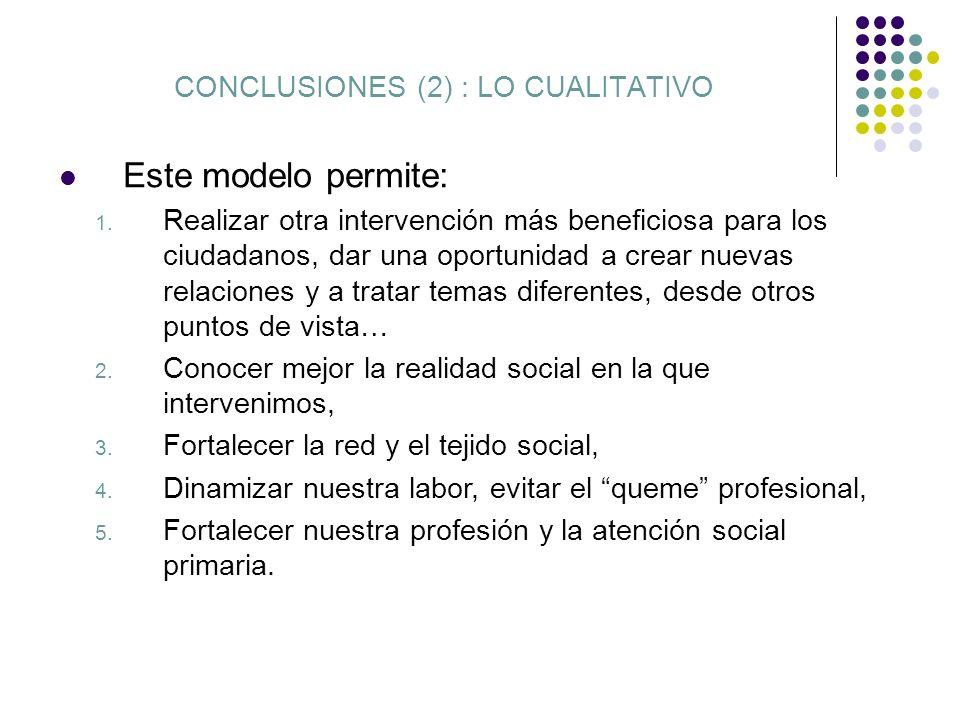 CONCLUSIONES (2) : LO CUALITATIVO