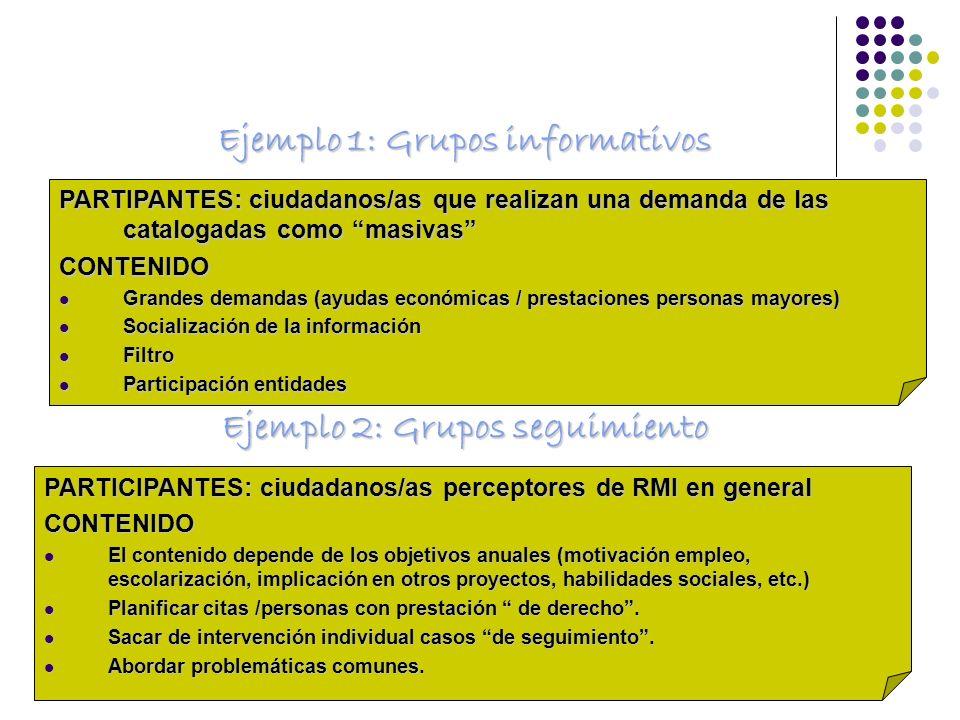 Ejemplo 1: Grupos informativos Ejemplo 2: Grupos seguimiento