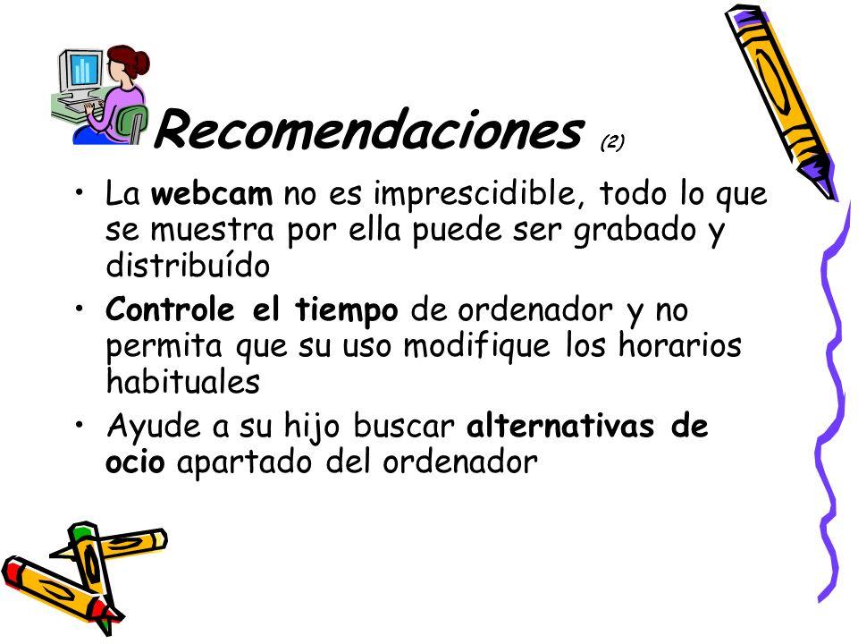 Recomendaciones (2) La webcam no es imprescidible, todo lo que se muestra por ella puede ser grabado y distribuído.