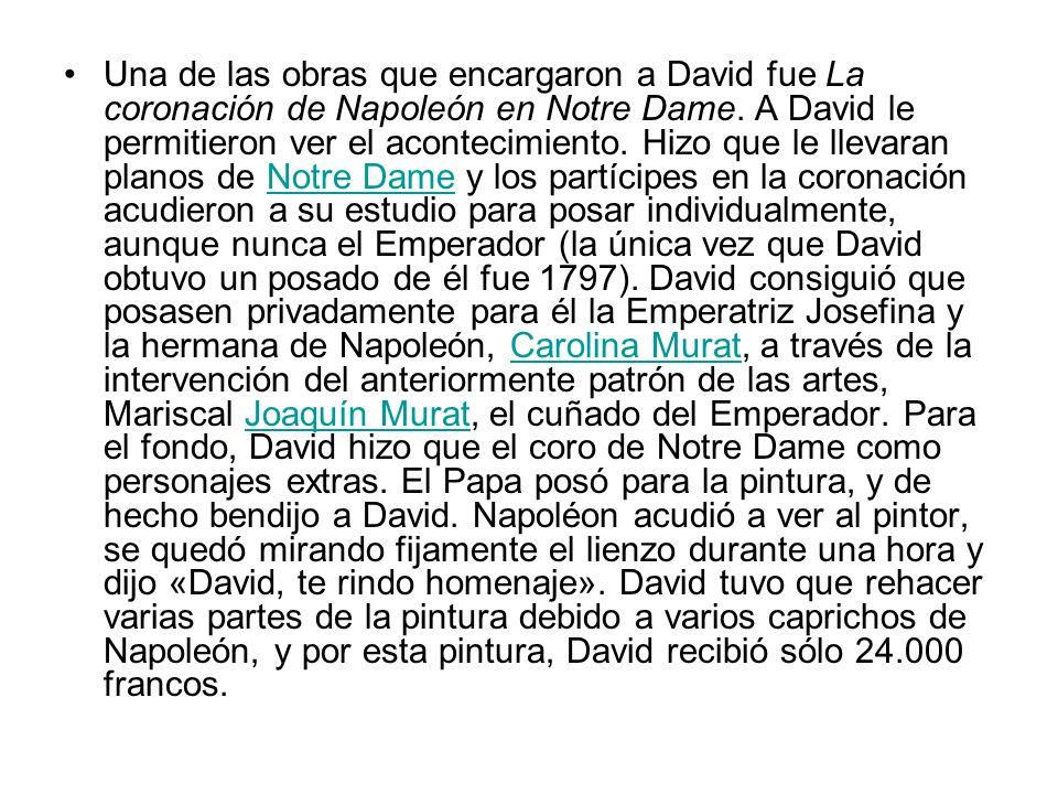 Una de las obras que encargaron a David fue La coronación de Napoleón en Notre Dame.