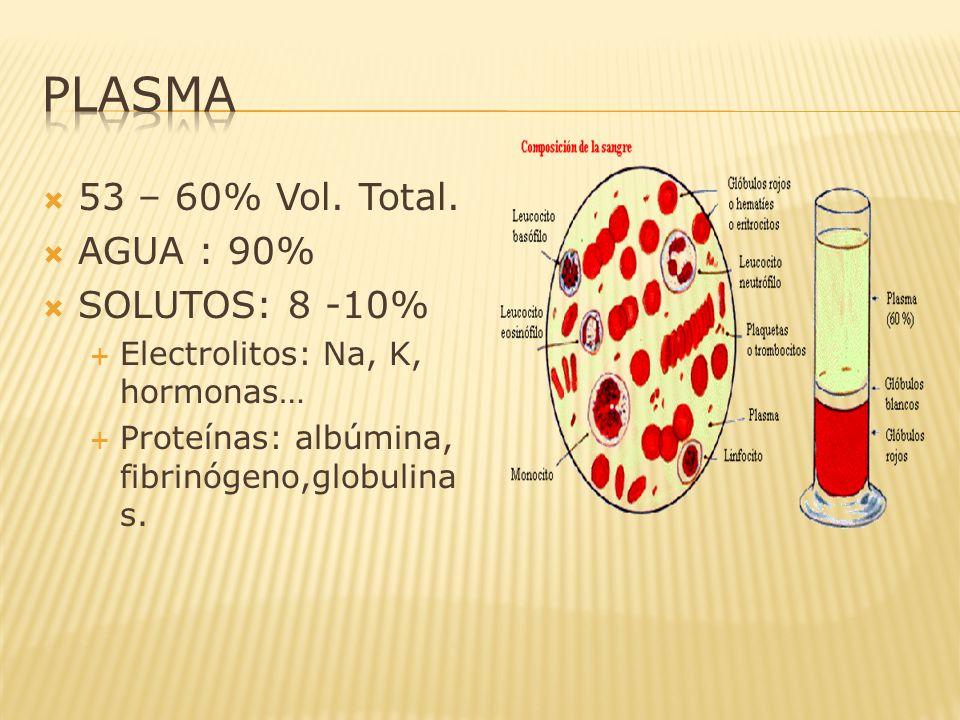 PLASMA 53 – 60% Vol. Total. AGUA : 90% SOLUTOS: 8 -10%