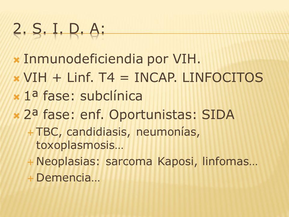 2. s. i. d. a: Inmunodeficiendia por VIH.