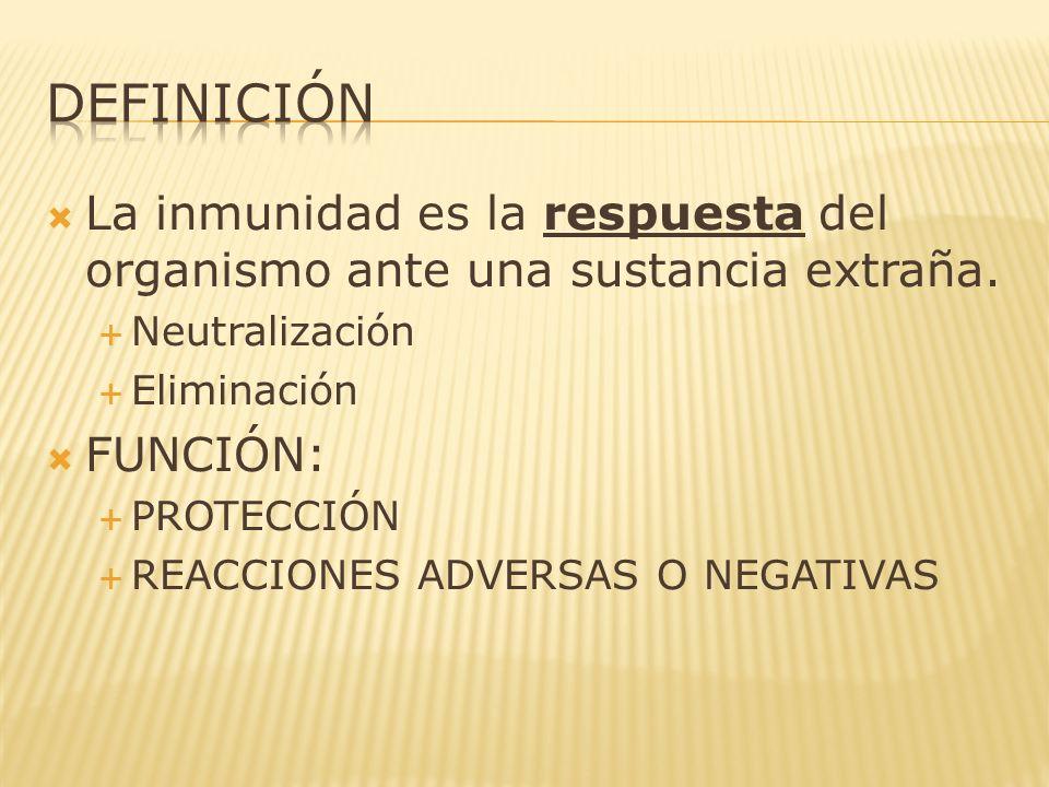 definición La inmunidad es la respuesta del organismo ante una sustancia extraña. Neutralización. Eliminación.