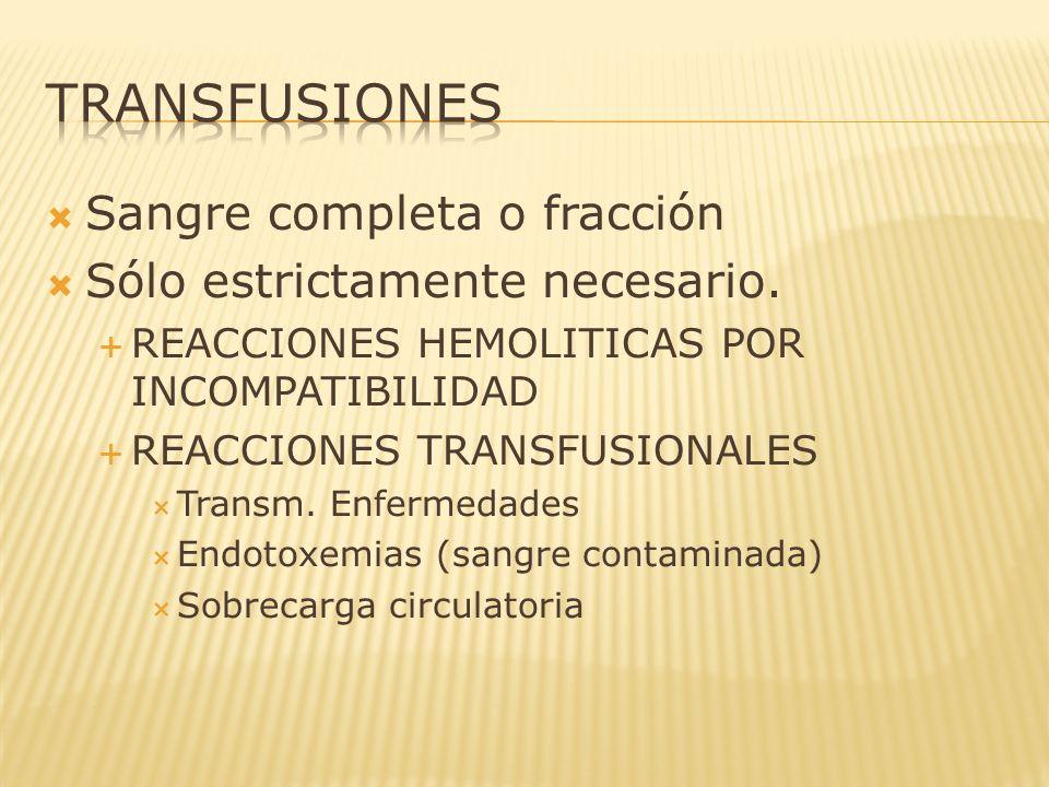 TRANSFUSIONES Sangre completa o fracción Sólo estrictamente necesario.
