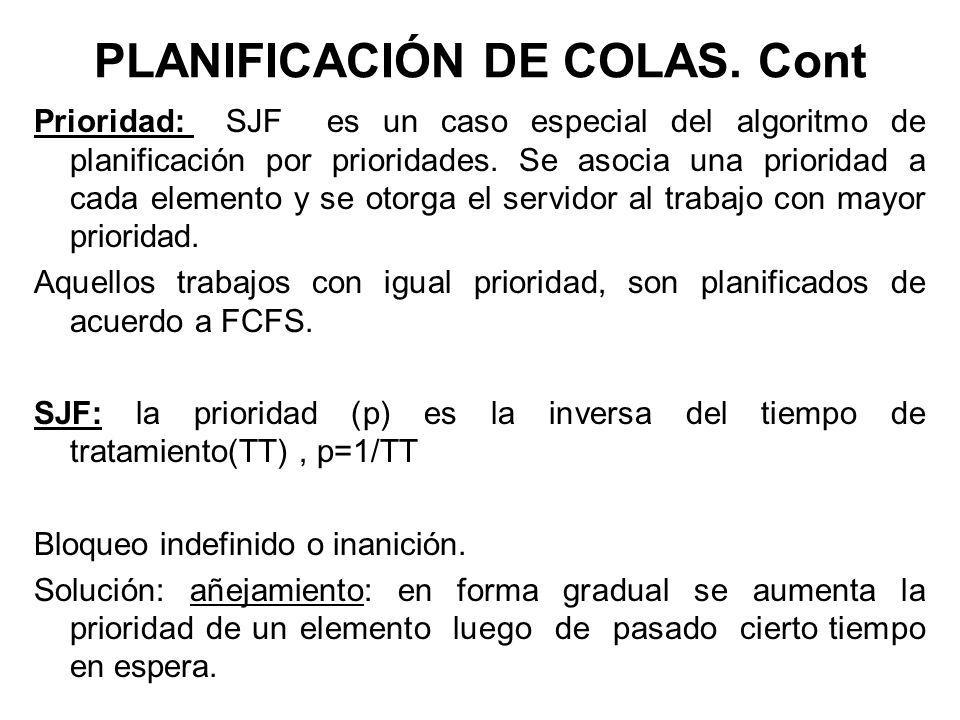 PLANIFICACIÓN DE COLAS. Cont