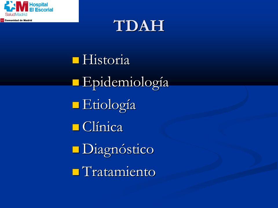 TDAH Historia Epidemiología Etiología Clínica Diagnóstico Tratamiento