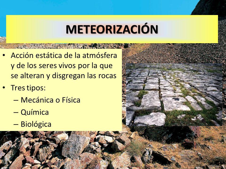METEORIZACIÓNAcción estática de la atmósfera y de los seres vivos por la que se alteran y disgregan las rocas.