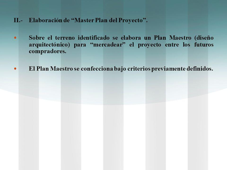 II.- Elaboración de Master Plan del Proyecto .