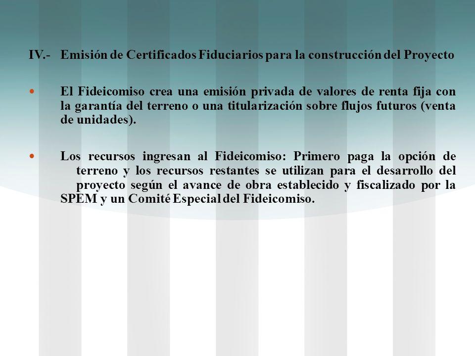 IV.- Emisión de Certificados Fiduciarios para la construcción del Proyecto