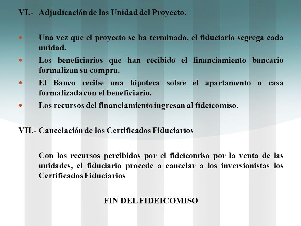 VI.- Adjudicación de las Unidad del Proyecto.