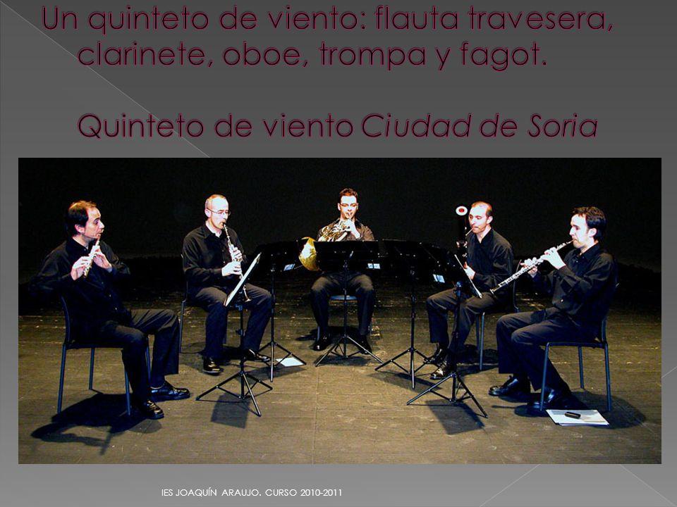 Un quinteto de viento: flauta travesera, clarinete, oboe, trompa y fagot. Quinteto de viento Ciudad de Soria