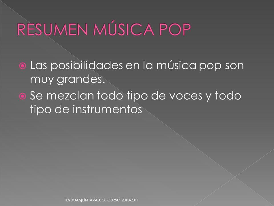 RESUMEN MÚSICA POP Las posibilidades en la música pop son muy grandes.