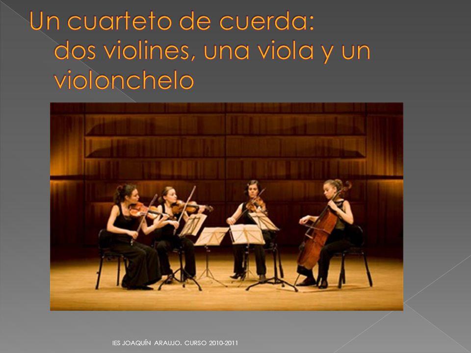 Un cuarteto de cuerda: dos violines, una viola y un violonchelo