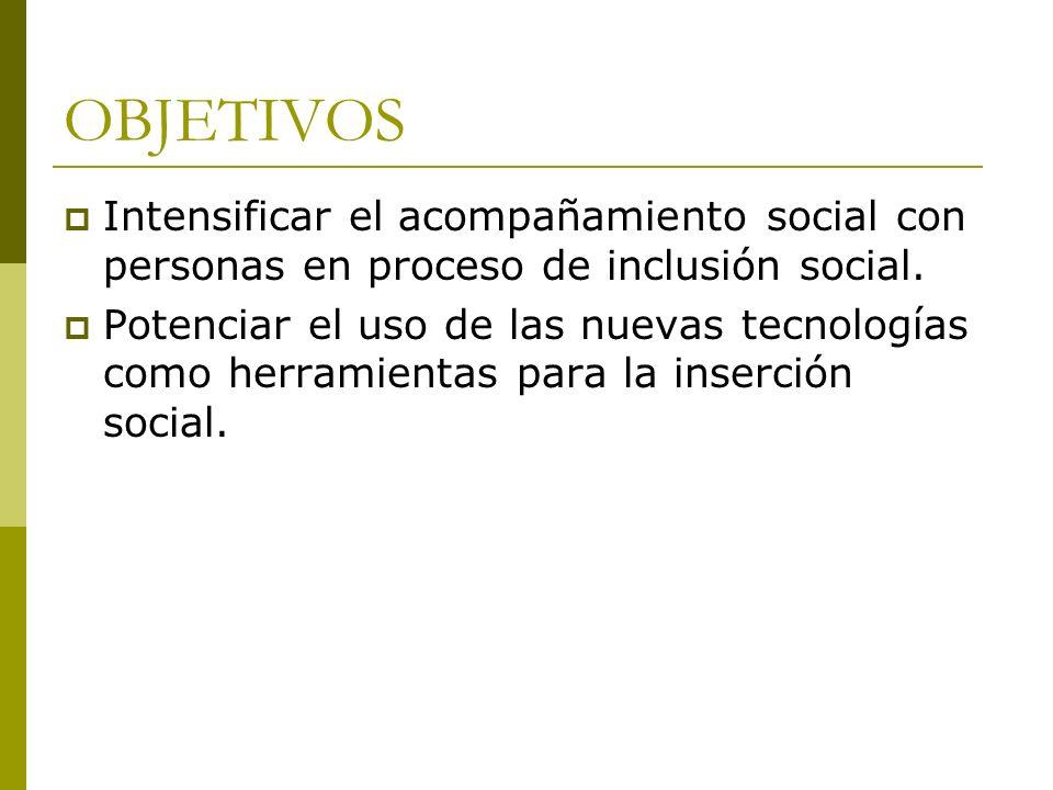 OBJETIVOS Intensificar el acompañamiento social con personas en proceso de inclusión social.