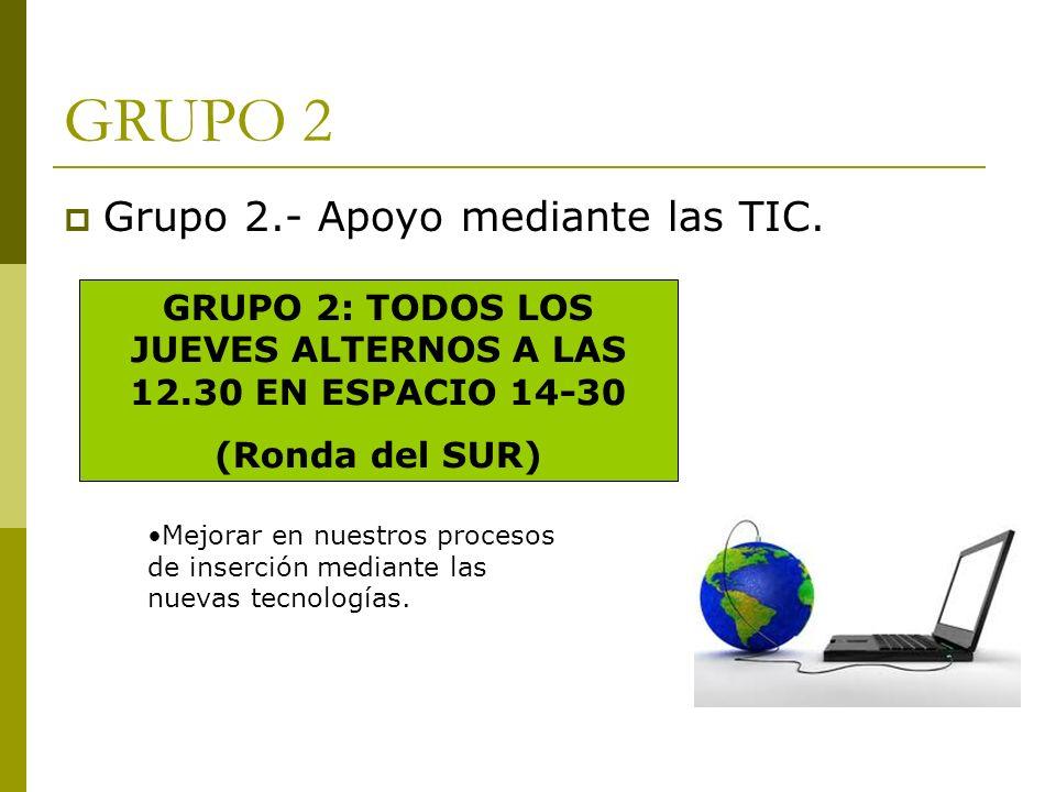 GRUPO 2: TODOS LOS JUEVES ALTERNOS A LAS 12.30 EN ESPACIO 14-30