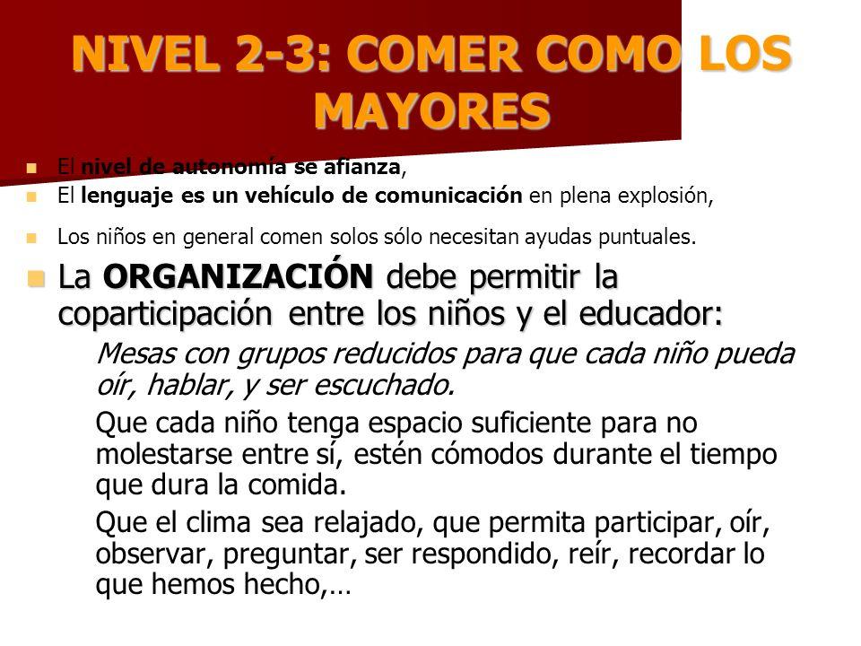 NIVEL 2-3: COMER COMO LOS MAYORES