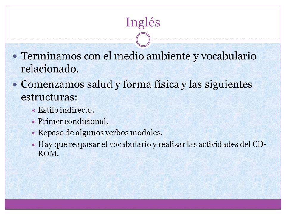 Inglés Terminamos con el medio ambiente y vocabulario relacionado.