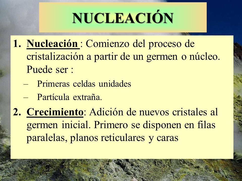 NUCLEACIÓN Nucleación : Comienzo del proceso de cristalización a partir de un germen o núcleo. Puede ser :