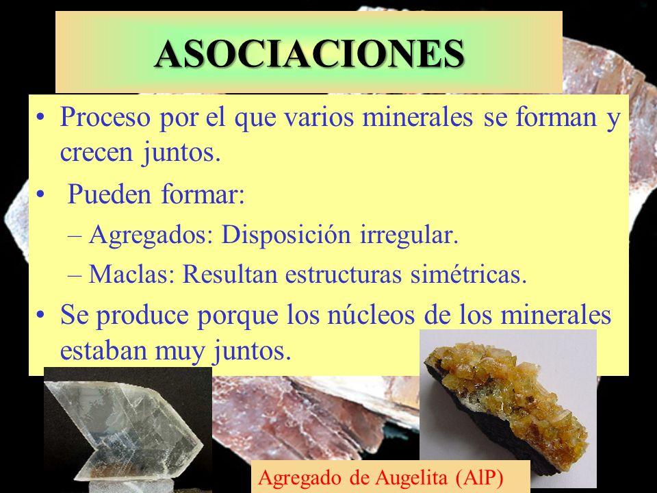 ASOCIACIONES Proceso por el que varios minerales se forman y crecen juntos. Pueden formar: Agregados: Disposición irregular.