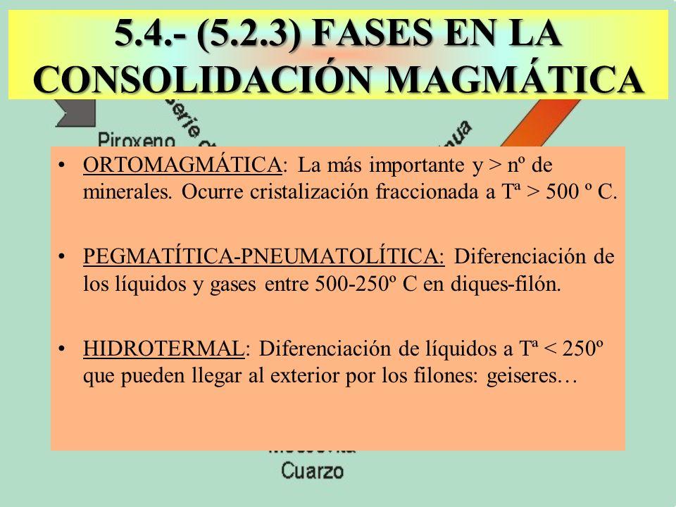5.4.- (5.2.3) FASES EN LA CONSOLIDACIÓN MAGMÁTICA