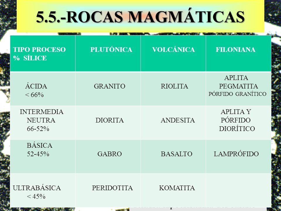 5.5.-ROCAS MAGMÁTICAS Textura hipocristalina del basalto TIPO PROCESO