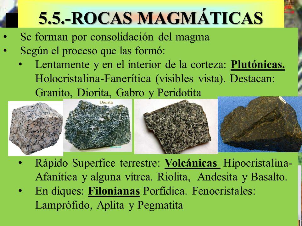 5.5.-ROCAS MAGMÁTICAS Se forman por consolidación del magma