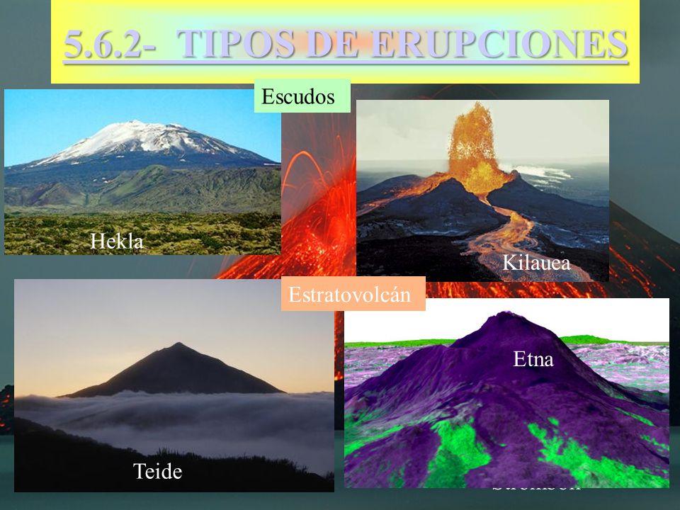 5.6.2- TIPOS DE ERUPCIONES Escudos Hekla Kilauea Estratovolcán Etna