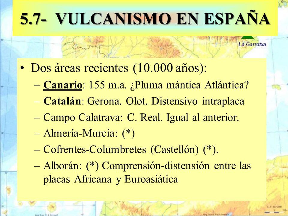 5.7- VULCANISMO EN ESPAÑA Dos áreas recientes (10.000 años):