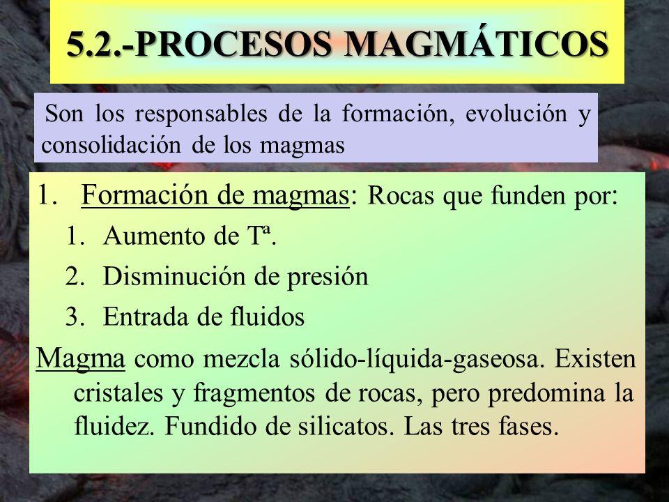 5.2.-PROCESOS MAGMÁTICOS Formación de magmas: Rocas que funden por: