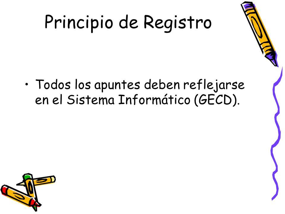 Principio de Registro Todos los apuntes deben reflejarse en el Sistema Informático (GECD).