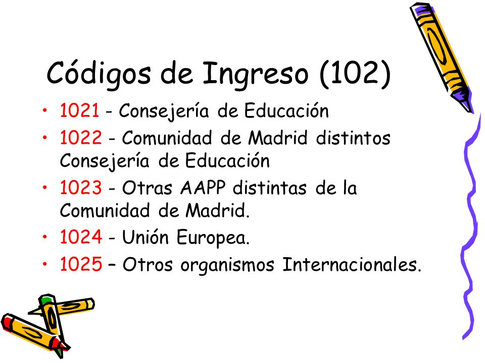Códigos de Ingreso (102) 1021 - Consejería de Educación