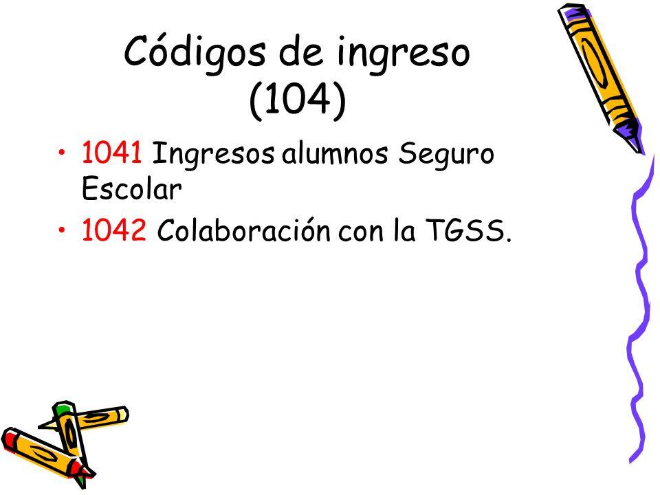 Códigos de ingreso (104) 1041 Ingresos alumnos Seguro Escolar