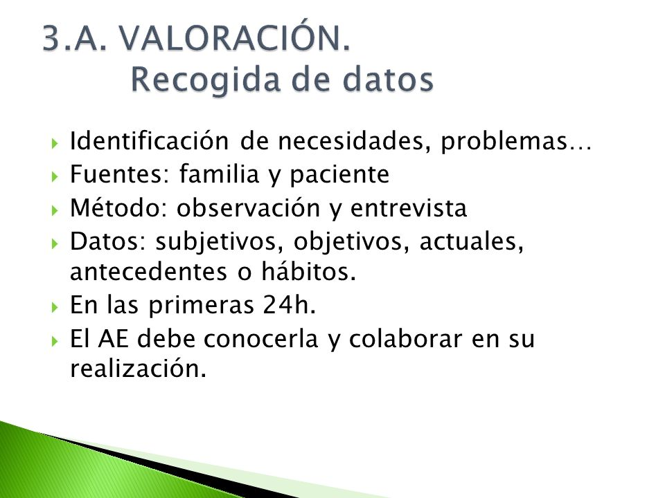 3.A. VALORACIÓN. Recogida de datos