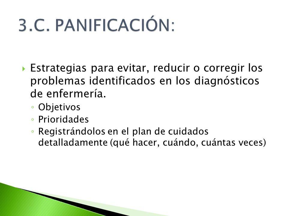 3.C. PANIFICACIÓN: Estrategias para evitar, reducir o corregir los problemas identificados en los diagnósticos de enfermería.