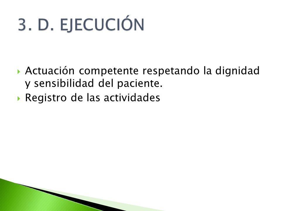 3. D. EJECUCIÓN Actuación competente respetando la dignidad y sensibilidad del paciente.