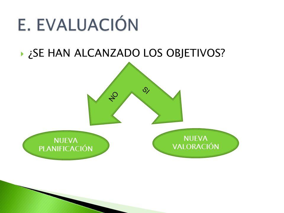 E. EVALUACIÓN ¿SE HAN ALCANZADO LOS OBJETIVOS SI NO NUEVA VALORACIÓN