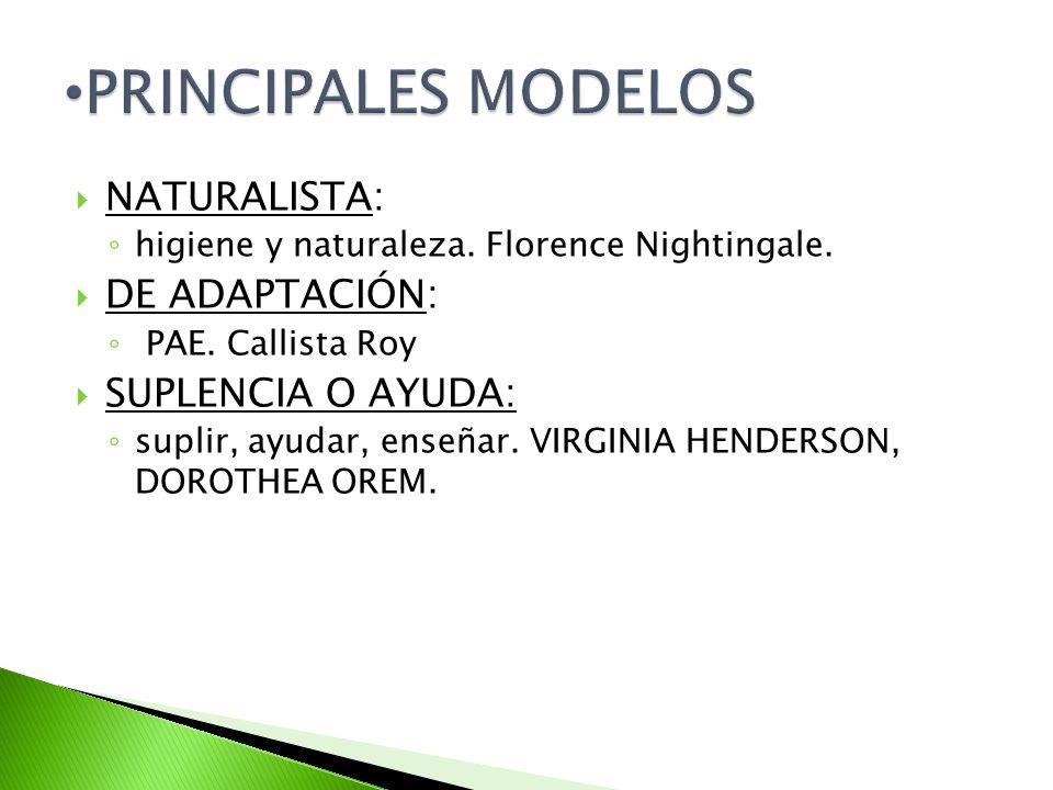PRINCIPALES MODELOS NATURALISTA: DE ADAPTACIÓN: SUPLENCIA O AYUDA: