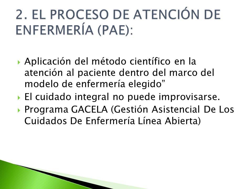 2. EL PROCESO DE ATENCIÓN DE ENFERMERÍA (PAE):
