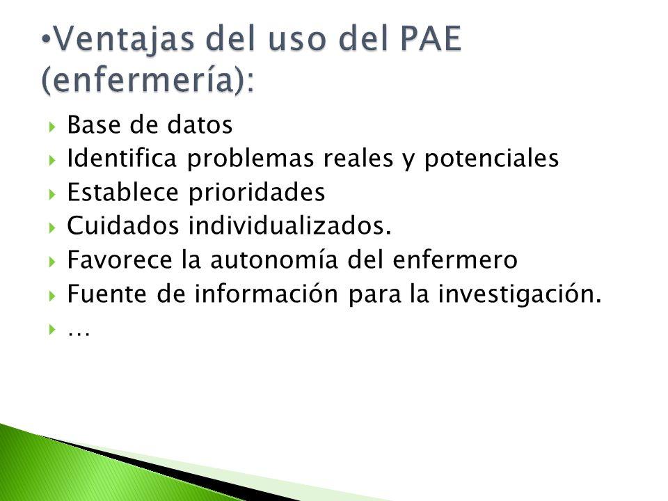 Ventajas del uso del PAE (enfermería):